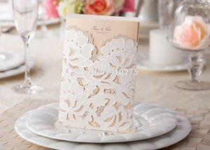 Wholesale- 30PCS Floral Flower lace Wedding Party Invitation Card Template Invite Cards Events Holiday Supplies