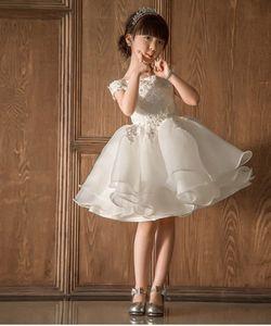 2017 feiertage blume mädchen kleid weiße spitze kleidung mit fortgeschrittenen appliques toddler kleidung für mädchen kleidung kinder kleid für hochzeit
