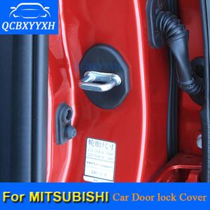 Qcbxyxh 4 قطعة / الوحدة abs سيارة قفل الباب واقية يغطي ل ميتسوبيشي أوتلاندر asx فورتيس باجيرو لانسر gelant سيارة التصميم