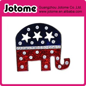 Grand Old Party GOP Symbol Patriotic Elephant Brooch Pin