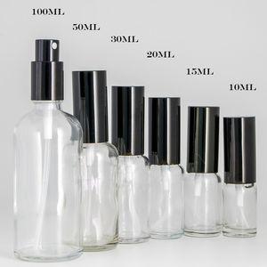 10 ml 15 ml 30 ml 50 ml 100 ml Claro de cristal del aerosol Botellas con Negro fina niebla pulverizador de aceites esenciales, perfumes, aromaterapia nebulización