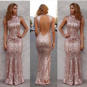 Rose Gold 2019 Sexy Prom Dresses sirena collo alto paillettes indietro aperto pavimento lunghezza abiti da sera partito Custom Made BA2892