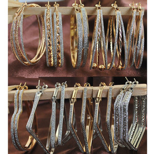 Al por mayor-Wholesale Mix Lot Hoop Earrings Joyería de moda Big Hoop Earring para las mujeres 12Pairs / Lot diseños mezclados