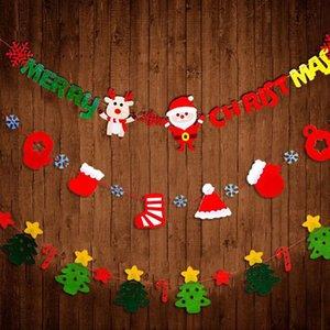 Felt Marry Christmas Letters Flandres Da Árvore de Natal Garland Wall Banner Set Decoração Ao Ar Livre Indoor Suprimentos ZA4395