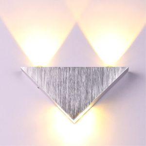 جودة عالية الحديثة الجدار الشمعدان مثلث تصميم 3 واط الألومنيوم أدى الجدار ضوء مصباح مرآة مصباح الخلفية ل ktv / بار / ممر / شرفة