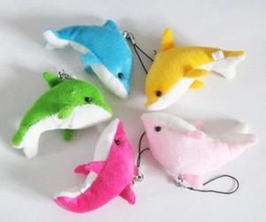 Vente en gros- Livraison gratuite 50pcs couleur mélangée mignon mini pendentif Dolphin en peluche, mini pendentif Dauphin avec porte-clés pour cadeau bébé