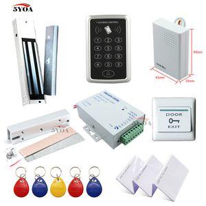 RFID Access Control System Kit Rahmen Glastür Set + Eletric Magnetschloss + ID-Karte Keytab + Power Supplier + Exit-Taste + DoorBell