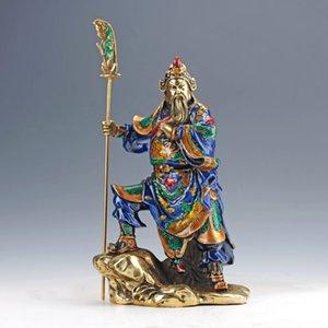 Collection Arts Vintage Oriental Rare Chine Laiton CLOVISONNE TRAVAIL DE MAIN Sculpté STOCKER STOCKAGYRIE Statue - Guan Gong