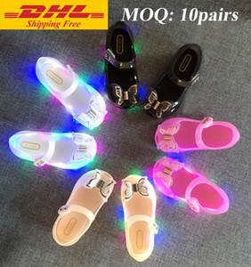 DHL ÜCRETSIZ yeni Melissa renkli LED flaş Kızlar ayakkabı ilmek prenses ayakkabı bebek serin terlik jöle sandalet balık ağzı bebek kız sandalet