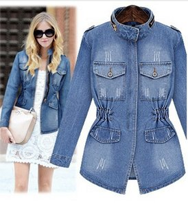Feminina New Size Outerwear Jacket Jackets Women Wholesale- Slim Women's Zipper Jeans Basic Coat Denim Pockets Coat Large Jaqueta Xxxxl Griv
