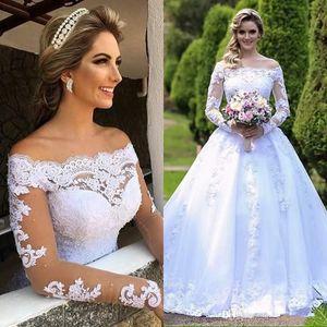 Vestidos De Noiva 카사멘토 프린세스 웨딩 드레스 Shoulders Sheer Long Sleeves Beaded 아랍어 로브 드 Mariage 정원 신부 가운