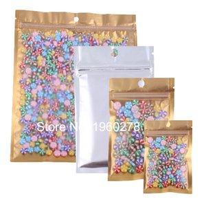 100 pz Multi Sizes Reclosable Trasparente / Oro / Argento Mylar Confezione Con Zip Bag Sacchetto Cibo Chicco di Stoccaggio Bag con Sacchetto di Mano