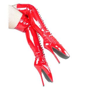 18 см высокая высота секс сапоги женские каблуки круглый топ Стилет каблук SM обувь над коленом сапоги каблуки No. 13452