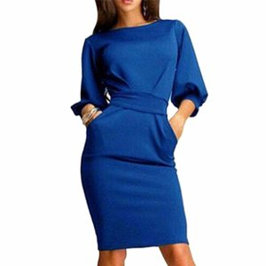 Wholesale- 2017 Hot Spring Summer Women Dress Half Sleeve Clubwear Formal Evening Bodycon Bow Dresses Plus Size