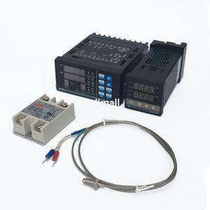 Freeshipping Digital Ajustável Painel Controlador de Temperatura PID Termostato PC410 + REX-C100 + Max. 40A Relé SSR + K Sonda Termopar