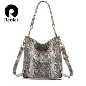 Wholesale- REALER  new arrival genuine leather handbag women shoulder bag female serpentine prints tote bag ladies messenger bag
