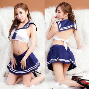 Envío gratis nueva lencería sexy lencería sexy extrema tentación sm show minifalda estudiante de la policía femenina Uniforme discoteca traje de marinero