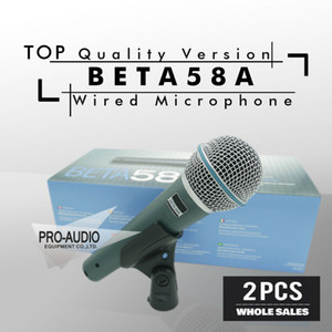 Spedizione gratuita! 2 pz versione di alta qualità BETA58 Vocal Karaoke Palmare dinamico microfono con microfono BETA58 Microfone Beta 58 A Mic