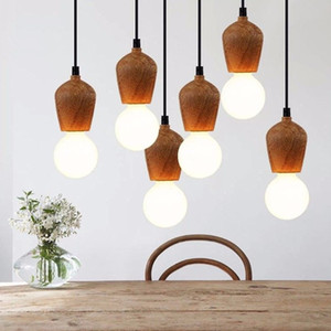 Modern Meşe Ahşap Kolye Işıkları Vintage Kordon Kolye Lamba Asılı Işık Fikstürü Siyah Tel Edison E27 Ampul Süspansiyon Armatürü