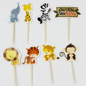 Toptan-24 adet Jungle Safari Cupcake Seçtikleri Hayvan Kek Toppers Karikatür Cupcake Ekler Kart Doğum Günü Bebek Duş Çocuklar Parti Iyilik