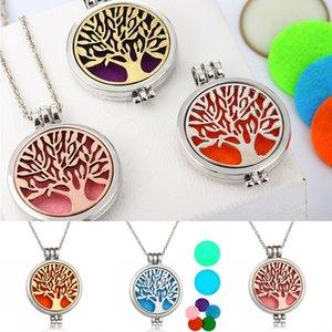3 Styles Aromatherapie Halskette Tree of Life Ätherische Öle Diffusor Schmuck 35mm Durchmesser chirurgischer Edelstahl-hängende B174S