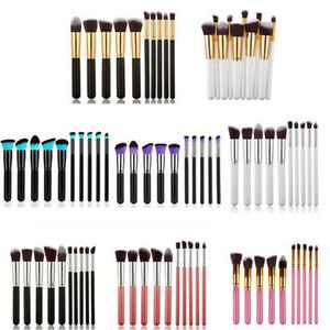 Kabuki Makyaj Fırçalar 10 adet Profesyonel Kozmetik Fırça Seti Naylon Saç Ahşap Saplı Göz Farı Vakfı Araçları Ücretsiz Kargo ZA2026