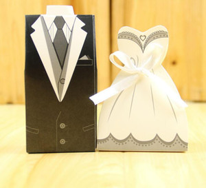 2017 جديد زفاف الحلوى مربع العروس العريس فستان الزفاف الزفاف لصالح أفضل هدية صناديق ثوب سهرة 100pair = 200 قطع