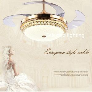 Les ventilateurs de plafond en cristal 42inch 36inch s'allument avec les ventilateurs de plafond légers à télécommande de Dimmable LED 220V 110V pour la décoration intérieure