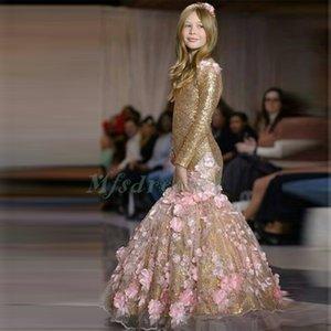 2017 Nova Pretty Girls Prom Dresses Sereia de Ouro Sequins Mangas longas Flores rosa crianças Vestido Sexy Girls Dress Pageant