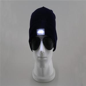 DHL! LED Éclairage Tricoté Chapeaux Femmes Hommes Camping Cap de voyage Randonnée Escalade Chapeaux d'hiver Hiver Hiver Hiver Caps