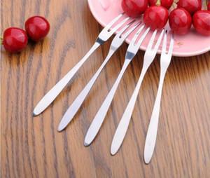 Nueva llegada barato de acero inoxidable postre fruta de la torta Dos dientes tenedores vajilla hogar para cubiertos