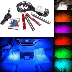 20 set 12 V flessibile Styling auto RGB LED Strip Light Atmosfera decorazione Lampada interna auto con luce accendisigari accendisigari