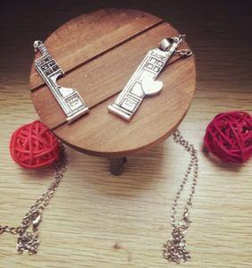 Заявление ожерелье пара древний Серебряный полицейский ящик сердце кулон ожерелье Шарм ювелирные изделия для мужчин женщин любителей Рождественский подарок