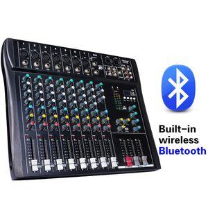 Freeshipping Professional 8Channel DJmixer консоль 48В источник питания с флэш-диск MP3-плеер с мульти-эффект реверберации
