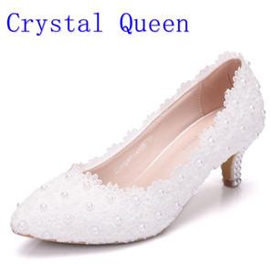 Crystal Queen Femmes Chaussures Blanc Chaussures De Mariage En Dentelle 5CM Chaussures À Talons Hauts Dentelle Blanche Pompes Douces Princess Party Heels