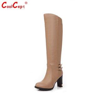 Al por mayor-EUR Tamaño 34-43 Mujeres sobre botas de rodilla Moda Nieve Invierno Calzado de piel de tacón alto Botas Masculina Zapatos Sexy Warm Half Boot P6870