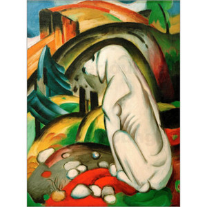 Abstract modern art The white dog by Franz Marc Oil Painting reproduction High quality Hand painted