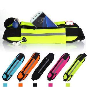 Bolso impermeable de la cintura para el iPhone X 8 7 6 6S Plus Samsung S8 S9 Plus Note 8 Funcionamiento exterior de la bolsa Fanny Pack de la bolsa Caja resistente al agua del teléfono