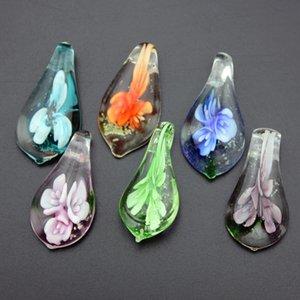 Schmuck Großhandel 12 teile / los Blume Nachtleuchtende Murano Glas Anhänger Tropfen Murano Glas Charme für Halskette Ohrringe Schmuck Erkenntnisse MC28