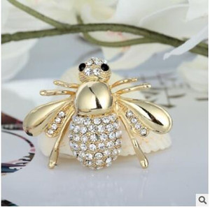 Bonito pequena abelha animal broches pinos cheios de rhinestone cristal broche de diamante corpete para homens e mulheres presente
