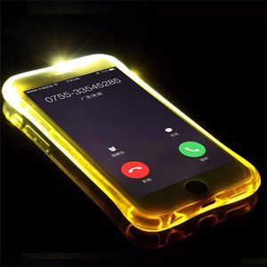 Telefone de volta caso fundas tpu + pc led flash light up caso lembrar a chamada recebida capa para iphone x 8 7 se 6 6 s plus samsung s7 s6 borda nota 5