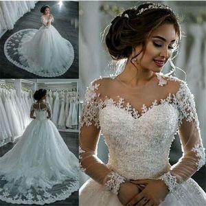 Sexy ver através Sheer manga comprida vestidos de casamento do Marfim Bling frisada Lace Applique Jewel Neck Bola Vestidos Capela vestidos de noiva