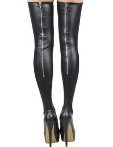 Al por mayor-RA80043 Las mujeres recién diseño permanecen hasta las medias de látex negro super estiramiento sexy medias de fitness cosplay muslo medias altas
