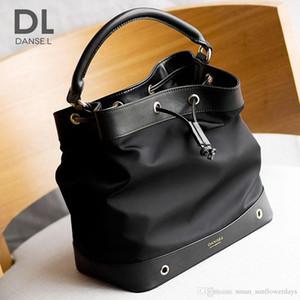 Ücretsiz kargo-YENI Moda 2017 sıcak kadın katı siyah oxford tuval gennuine deri kova çanta / omuz çantası / çanta