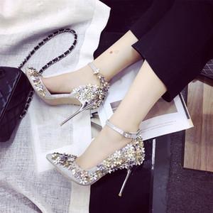 Nuove scarpe da donna con tacco alto argento con paillettes scarpe con i polpacci a punta scarpe con fibbia scarpe da sposa per feste