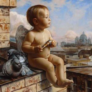 Accueil Décoration 40x50cm Photo Peinture sur toile de bricolage numérique Peinture à l'huile Peinture par numéros de dessin à colorier Angel Baby V4003