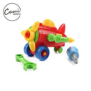 작은 자동차 평면 빌딩 블록을 분해하는 DIY 아이들 조립 된 모델 도구 클램프로 스크루 드라이버 아이 교육 장난감