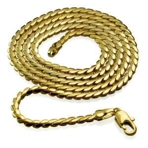 Элегантные ювелирные изделия 18K желтое золото заполненные ожерелье 45 см длина n270