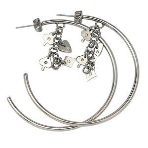 anti allergic body jewelry Charms Women Earring Design round hoop star stud earrings for women Cuff Round Earrings Silver Open Hoop Earrings