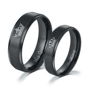 2017 mais recente amante do anel sua rainha e seu rei jóias em aço inoxidável anel de casal anel de casamento preto